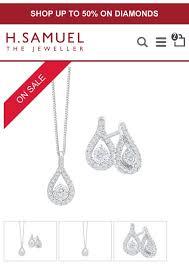 h samuel 9ct white gold diamond earrings image of earring