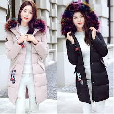 dollypoody rainbow fur collar hoo middle length winter jacket coat