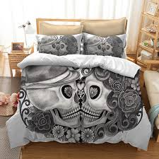 skull bedding set for king size bed europe style 3d sugar skull duvet cover with pillowcase au queen bed bedline bedding comforter grey twin comforter from