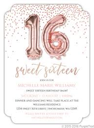 Faux Rose Gold Balloons Sweet Sixteen Invitation Sweet 16 Invitations
