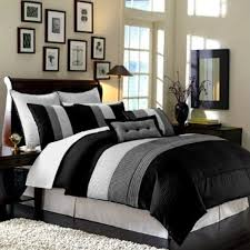 8pcs modern black white grey luxury stripe comforter set cal king size bedding by legacy