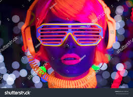 Clothes Under Black Light Fantastic Video Sexy Cyber Raver Woman Stock Photo Edit Now