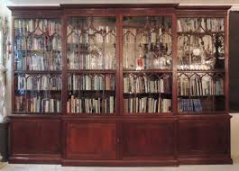 Chippendale China Cabinet Monumental 19th C English Chippendale Mahogany Breakfront Bookcase