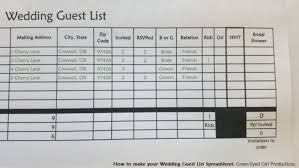 wedding spreadsheet how to make your wedding guest list spreadsheet free download