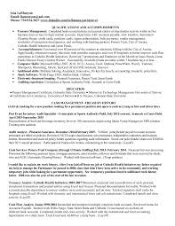treasury management resume