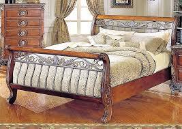 sleigh bed queen size iron wood frame paint on headboard measurements
