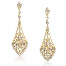 view larger plated leaves pave cz teardrop chandelier dangle earrings