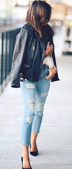 how to wear ripped jeans leather jacket top heels
