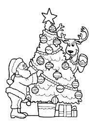 Christmas Santa Decorating Christmas Tree With The Reindeer