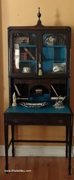 check out the tassel with a spool of thread painted secretary s desk blue interior