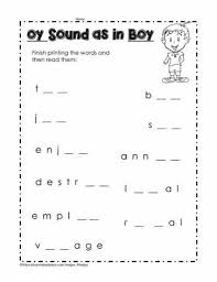 For this phonics worksheet, students practice printing oy and oi on lines, circle words that match pictures, circle oy and oi words and print 3 words in each category. Oy As In Boy Worksheets