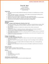 Sample Cna Resume Sow Template
