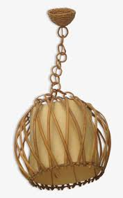 Rattan And Paper Hanging Lamp Cage Png Image Transparent Png