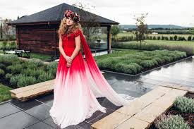 elegant red ombre wedding dress gold sparkly wedding inspiration