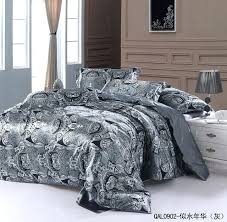 grey silver silk bedding set sheets paisley super king size queen quilt duvet cover bed in light blue silver grey bedding set