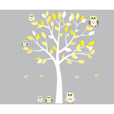 Yellow and Grey Owl Art For Kids With Tree Decal For Nursery For Girls