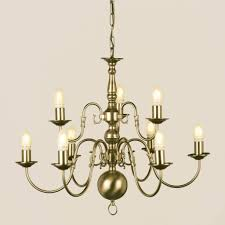 elegant antique brass chandelier in impex flemish 9 light candle s