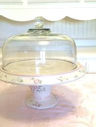 covered cake stand glass domed cake stand fl pottery cake plate glass dome beautiful bold vintage