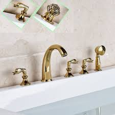 roman tub faucet with hand shower. Deck Mounted Golden Widespread Tub Faucet Three Handles Brass Roman Mixer Taps With Hand Shower
