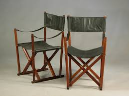 teak brass black leather safari folding chair by mogens koch for rud rasmussen 1960s for at pamono