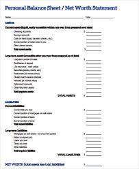Sample Personal Balance Sheet Personal Balance Sheet 7 Examples In Word Pdf