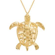 gold boutique textured style sea turtle pendant necklace in 9ct gold