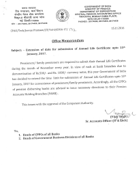 Extension Of Date For Submission Of Annual Life Certificate Upto