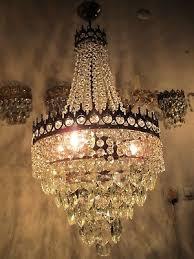 antique vnt french big basket crystal chandelier lamp 1940 s 14in Ø dmtr