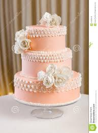 Pink And White Wedding Cake Stock Photo Image Of Flower Cakes