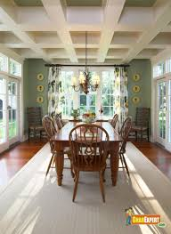 Home Interior Design With Coffered Ceiling Ideas : Modern Contemporary  Dining Room Decoration With Rectangular Brown