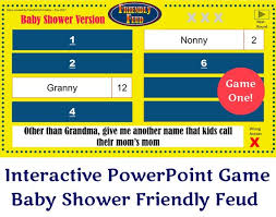 Baby Shower Friendly Feud Game One Interactive Powerpoint Game