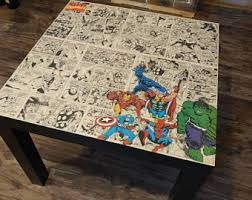 comic book furniture. Custom Marvel DC Coffee Table, Comic Home Decor, Avengers Book Superhero Furniture S