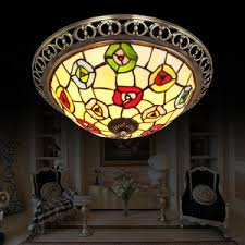 Beautiful Tiffany Ceiling Lights Bronze Alloy And Stained Glass