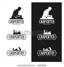 woodworking tools logo. carpentry vintage labels set. carpenter shop advertising. silhouette of carpenter. tools. woodworking tools logo t