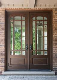 Awesome Brown Front Door Design Idea with Glass, Black Door Handles, Brown  Brick Wall