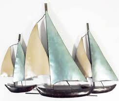metal wall art 3 sail boats at sea