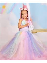 Add To Wishlist Girls Unicorn Princess Tutu Costume Dress