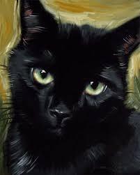 custom black cat portrait original oil painting by diane irvine armitage