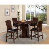 crown mark daria 5 piece counter height round pedestal set in espresso