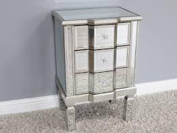 mirrored venetian glass bedside cabinet silver