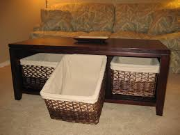 under coffee table storage baskets square wood with design