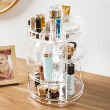 plastic clear rotating makeup organizer cosmetic storage