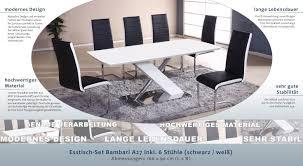 Esstisch Set Bambari A27 Inkl 6 Stühle Schwarz Weiß 160 X 90