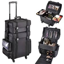 amazon aw 2in1 black soft sided rolling makeup case oxford fabric cosmetic 15x11x25 train bag with drawers beauty