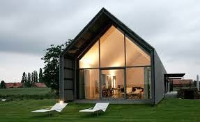 ... sustainable modern barn architecture with window glazing also outdoor  lounge chairs ...