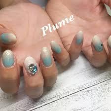夏ホワイトターコイズ水色 Nail Salon Plumeのネイルデザインno