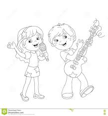 Small Picture Coloring Page Outline Of Boy And Girl Singing A Song Stock Vector