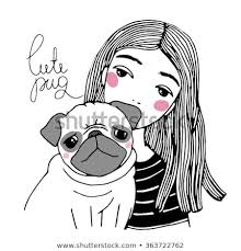 cute pug drawing. Exellent Drawing Beautiful Young Girl And A Cute Pug Hand Drawing Isolated Objects On White  Background For Cute Pug Drawing