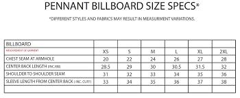 Pennant Sportswear Billboard Size Chart Tennessee Shirt