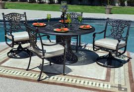 serena luxury 4 person all welded cast aluminum patio furniture dining set w swivel chairs